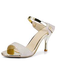 Damen-Sandalen-Hochzeit Büro Kleid-PU-Stöckelabsatz-Club-Schuhe-Weiß Beige Rosa