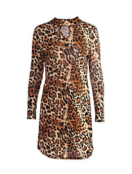 Women's Cut Out Going out Sexy Shift Dress,Leopard Turtleneck Knee-length Long Sleeve Brown Polyester Fall Mid Rise Micro-elastic Medium