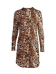 Femme Découpé Courte Robe Sortie Sexy,Léopard Col Roulé Mi-long Manches Longues Marron Polyester Automne Taille Normale Micro-élastique Moyen