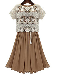 European leg elastic waist pleated summer dress round neck dress + hollow lace blouse piece