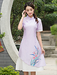 2017 printemps nouveau petit col à manches courtes robe impression taille robe cheongsam peints à la main