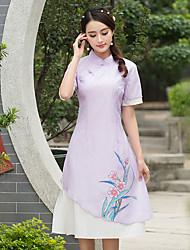 2017 spring new small collar short-sleeved dress hand-painted cheongsam dress waist printing
