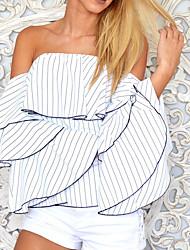 Damen Gestreift Sexy Ausgehen T-shirt,Bateau Frühling Sommer Ärmellos Baumwolle Undurchsichtig