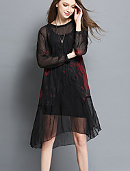 Women's Going out Holiday Plus Size Sexy Simple Loose Chiffon Dress,Print Round Neck Knee-length Long Sleeve Cotton Spring Mid Rise