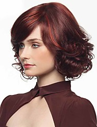 Red Color African American Short Wigs For Black Women Synthetic Wigs