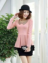 Spring and Autumn new Korean Women Slim doll collar long-sleeved dress shirt dress