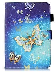 Para Case Tampa Carteira Porta-Cartão Com Suporte Flip Estampada Corpo Inteiro Capinha Borboleta Rígida Couro Ecológico para AppleiPad