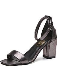 conforto sandálias de verão pu curta fivela casuais das mulheres