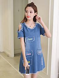 Знак 2017 летом новые корейские женщины свободно, случайные джинсовые платья денима юбка была тонкой словом юбка
