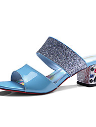 Women's Slippers & Flip-Flops Summer Fall Slingback Synthetic Cowhide Office & Career Dress Party & Evening Chunky Heel Block Heel Sequin