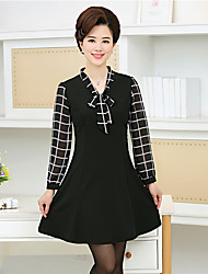 Women's Anniversary Family Gathering Casual/Daily A Line Dress,Others V-neck Above Knee, Mini Long Sleeve N/A Spring Summer High Rise