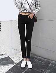 assinar modelos primavera coreano cintura alta jeans pretos usados lápis fino flash de calças pés meia-calça