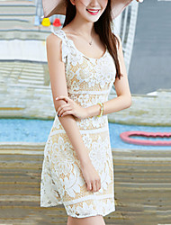 Women's Beach Holiday Slim chic Cut Out Backless A Line Lace Dress Solid Embroidered Round Neck Mini Sleeveless Summer High Rise
