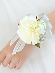 Fleurs de mariage Forme libre Lis Pivoines Petit bouquet de fleurs au poignet Mariage La Fête / soirée Satin