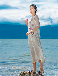 Sign 2017 spring new wrinkle silk embroidered cotton lapel stitching dress and long sections