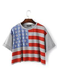 2016 o verão Europa nova, os Estados Unidos ea bandeira americana imprimiram o t-shirt curto selvagem do shi do lo curto do ponto da rua