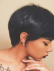 Natural Prevailing Partial Fringe Black Short Hair Human Hair Wig For Women
