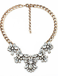 Women's Chain Necklaces Crystal Flower Chrome Unique Design Jewelry For Special Occasion Congratulations 1pc