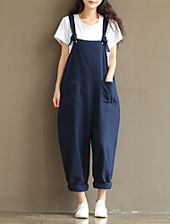 2017 summer new art Fan cotton overalls big yards wide leg pants ladies casual slacks