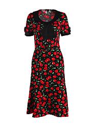 Women's Work Plus Size Dress,Print Round Neck Knee-length Short Sleeve Red / Black Summer
