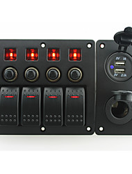 IZTOSS red led DC12/24V 4 Gang on-off rocker switch curved panel and circuit breaker with label stickers and power socket and 3.1A USB port for boat m