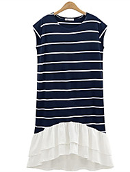 Women's Going out Casual/Daily Street chic A Line Dress,Striped Round Neck Knee-length Short Sleeve Polyester Spring Summer Mid Rise