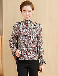 Women's Going out Simple Blouse,Floral Round Neck Long Sleeve Others