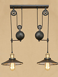 Pendant Light   Retro Country Painting Feature for Lifting Height 2 Edison Bulb  Designers Metal Bedroom Dining Room Study Room/Office Hallway
