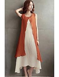 Spot nouveau féminin rétro coton robe robe d'été faux deux grands yards jupe en lin souple