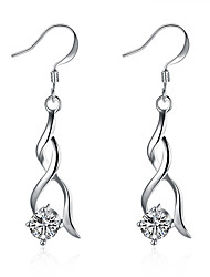 Women's Girls' Dangle Earrings Crystal Geometric Silver Plated Teardrop Jewelry For Wedding Party Daily Casual