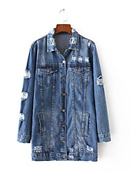 Women's Sports Simple Spring Denim Jacket,Solid Shirt Collar Long Sleeve Long Others