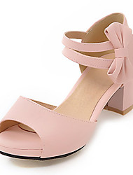 Women's Sandals D'Orsay & Two-Piece Leatherette Spring Summer Outdoor Dress D'Orsay & Two-Piece Bowknot Chunky Heel Block HeelBlack Beige