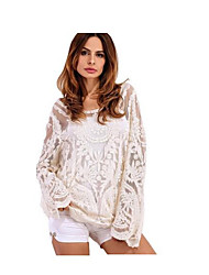 modèles d'explosion chauds amazon blouse chemise en dentelle à manches longues