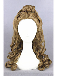 Medium Long Wave Cinderella Wig Brown Synthetic 22inch Anime Cosplay Hair Lolita Wig CS-250A