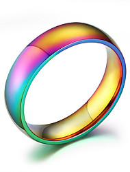 R-105 Classic Men Women Rainbow Colorful Ring Gay Ring Jewelry Titanium Steel Wedding Band Ring Width 6mm Size 6-12 Gift