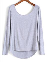 Aliexpress нового падения обратно лук с длинными рукавами рубашки футболки женщин торговли местом