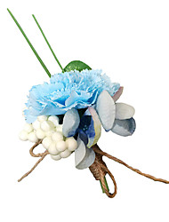Wedding Flowers Free-form Peonies Boutonnieres Wedding Party/ Evening Light Blue / Sky Blue Satin
