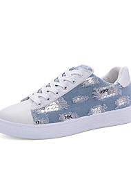 conforto sneakers verão pu denim curta lantejoulas casuais das mulheres