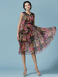 The new brand women's fashion printed chiffon dress summer dress bohemian Specials