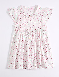 Girl's Casual/Daily Print Dress,Cotton Linen Summer Short Sleeve