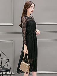 Sign waist lace dress 2017 spring new long-sleeved long section of hollow Slim was thin big yards