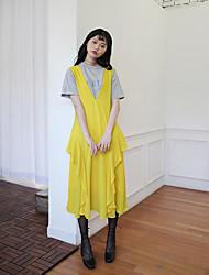 sul-coreano pequena brilhante fresco chique v-pescoço vestido de alça