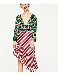 New foreign trade green print jumpsuit long-sleeved shirt blouses sexy deep V bow tie