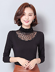 Gauze high-necked long-sleeved lace shirt bottoming shirt