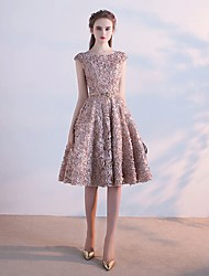 Knee-length Jewel Bridesmaid Dress - Lace-up Sleeveless Lace