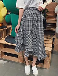 Damen Einfach Hohe Hüfthöhe Ausgehen Lässig/Alltäglich Midi Röcke Schaukel,Rüsche Mehrschichtig einfarbig Riemengurte Sommer