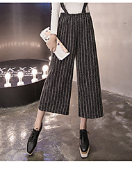 Sangle de taille large jambe pantalons pantyhose robe d'automne et d'hiver pantalons décontractés coréens pantalons de lin culottes rejet