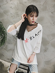 2012 novos coreano moda costura selvagem letras de fios net t-shirt impresso tiro real