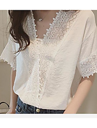 Summer Korean version of the new female loose white lace chiffon shirt solid color short sleeve V-neck chiffon blouse hollow