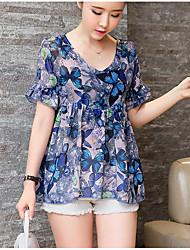 Spot summer new Korean fashion loose two-piece chiffon shirt short-sleeved shirt female peach no thanks